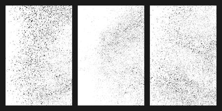 Texture granuleuse noire isolée sur fond blanc. Texturé endommagé. Éléments de conception grunge. Définir l'illustration vectorielle, eps 10. Vecteurs