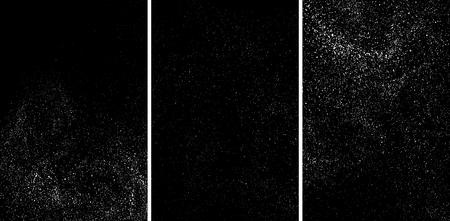 White grainy texture isolated on black background. Damaged textured. Snow design elements. Set vector illustration,eps 10. Illustration