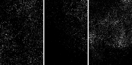 White grainy texture isolated on black background. Damaged textured. Snow design elements. Set vector illustration,eps 10.