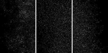 White grainy texture isolated on black background. Damaged textured. Snow design elements. Stock Illustratie