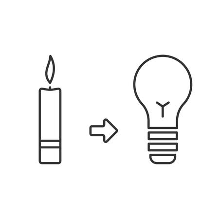 Ewolucja światła. Świeca i żarówka. Oświetlenie przed i teraz. Pojęcie postępu. Ikona wektor prosty styl liniowy. Obrys edytowalny.
