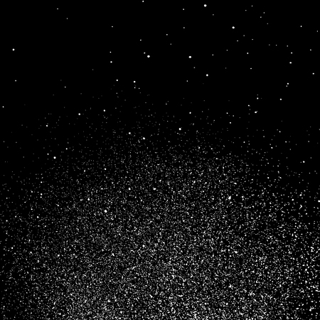 White Grainy Texture Template On Black Background. Dust Overlay Distress. Grunge Elements With Grain And Noise. Vector Monochrome Illustration, Eps 10.