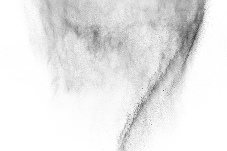 Black particles explosion isolated on white background.  Abstract Dust Overlay Texture.