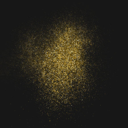 Gold Glitter Halftone Dotted Backdrop. Abstract Circular Retro Pattern. Pop Art Style Background. Golden Explosion Of Confetti. Digitally Generated Image.