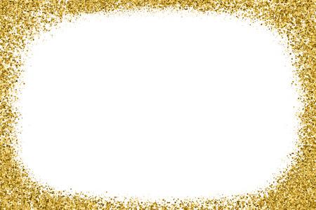 Goldglitter Textur Isoliert Auf Weiss. Bernsteinfarbene Partikel. Feierlicher Hintergrund. Goldene Explosion von Konfetti. Vektorillustration, Eps 10.