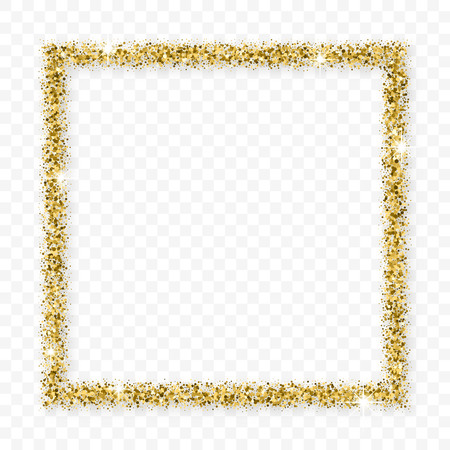 Gold Glitter Frame With Bland Shadows Isolated On Transparent  Background. Abstract Shiny Texture Squares Border. Golden Explosion Of Confetti. Ilustração