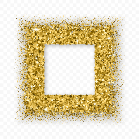 Gold Glitter Frame With Bland Shadows Isolated On Transparent  Background. Abstract Shiny Texture Squares Border. Golden Explosion Of Confetti. Illustration