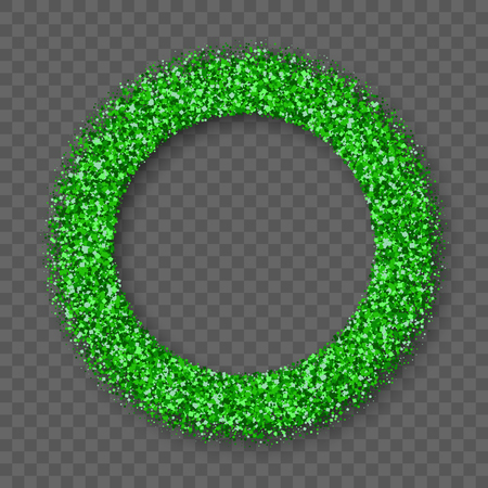 St. Patrick's Day Frame With Bland Shadows Isolated On Transparent  Background. Abstract Green Texture Circle Border. Illustration