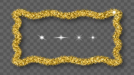 Gold Glitter Frame With Bland Shadows Isolated On Transparent  Background. Abstract Shiny Texture Rectangle Border. Golden Explosion Of Confetti.