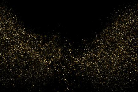 Złoty Brokat Tekstury Na Czarnym Tle. Bursztynowy kolor cząstek. Tło uroczysty. Złoty Wybuch Konfetti. Element projektu. Obraz generowany cyfrowo. Ilustracja wektorowa, Eps 10.