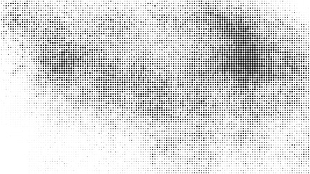 Black Halftone Texture On White Background. Modern Dotted Futuristic Backdrop. Fade Noise Overlay. Digitally Generated Image. Pop Art Style. Vector Illustration, Eps 10.