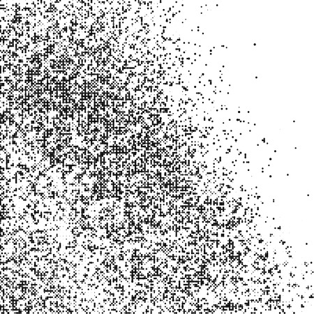 Black Halftone Texture On White Background. Braille Code Imitation Pattern. Modern Dotted Futuristic Backdrop. Fade Noise Overlay. Vector Illustration, Eps 10.