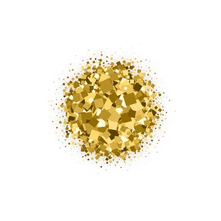 Gold Circular With Bland Shadows Isolated On White Background. Amber Particles Color. Celebratory Background. Golden Explosion Of Confetti. Vector Illustration, Eps 10.