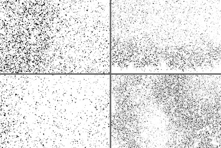 Black Grainy Texture Isolated On White Background. Dust Overlay. Dark Noise Granules. Digitally Generated Image. Set Vector Design Elements, Illustration, Eps 10.