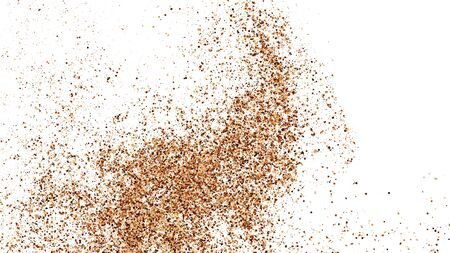 Coffee Color Texture Isolated on White Background. Brown Particles. Explosion Of Chocolate Shades Confetti. Vector Illustration. Ilustração