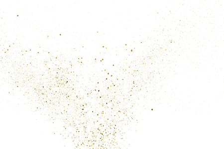Gold Glitter Texture Isolated On White. Amber Particles Color. Celebratory Background. Golden Explosion Of Confetti. Design Element. Digitally Generated Image. Vector Illustration, Eps 10. Ilustracja