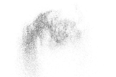 Black Grainy Texture Isolated On White Background. Dust Overlay. Dark Noise Granules. Digitally Generated Image. Vector Design Elements, Illustration Ilustrace