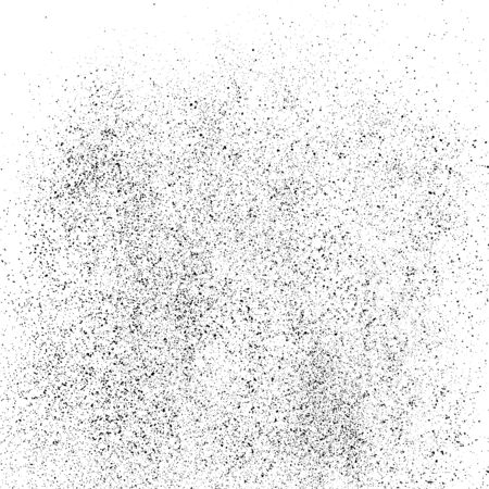 Black Grainy Texture Isolated On White Square Background. Dust Overlay. Dark Noise Granules. Digitally Generated Image. Vector Design Elements, Illustration