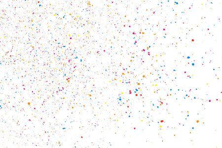 Abstract Explosion Of Confetti. Colorful Grainy Texture Isolated On White Background. Colored Stains And Blots. Vector Overlay Elements. Digitally Generated Image. Illustration, Eps 10.