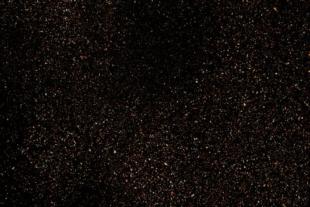 Coffee Color Grain Texture Isolated on Black Background. Chocolate Shades Confetti. Brown Particles. 矢量图像