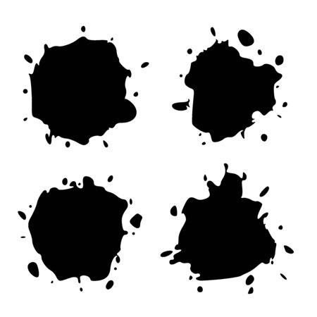 Set Black Blob on White. Ink splash. Brushes droplets. Digitally Generated Image
