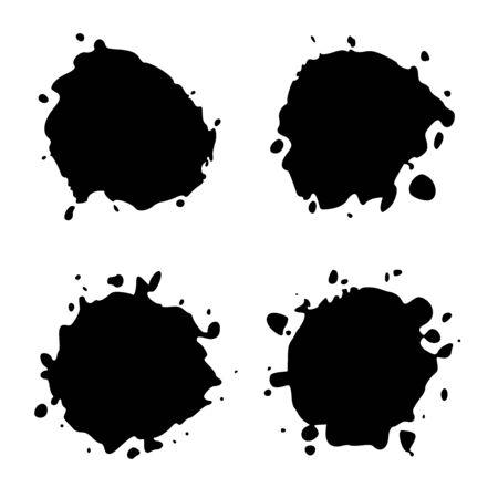 Set Black Blob on White. Ink splash. Brushes droplets. Digitally Generated Image.
