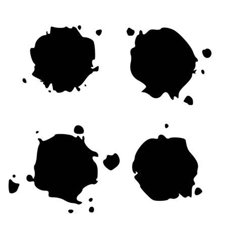 Set Black Blob Isolated on White. Ink splash. Brushes droplets. Digitally Generated Image.