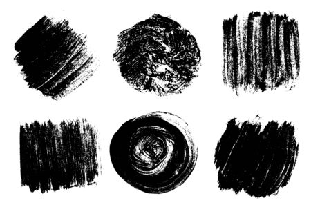 Black brush strokes isolated on white. Ink splatter. Paint droplets. Digitally generated image. S 矢量图像
