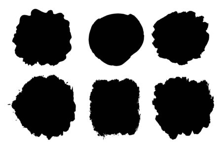 Black brush strokes isolated on white. Ink splatter. Paint droplets. Digitally generated image.