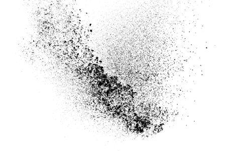 Black grainy texture isolated on white background. Dust overlay. Dark noise granules. Digitally generated image. Vettoriali