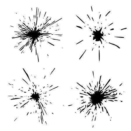 Set Black Blob Isolated on White. Ink splash. Brushes droplets. Digitally Generated Image. Illustration Illustration