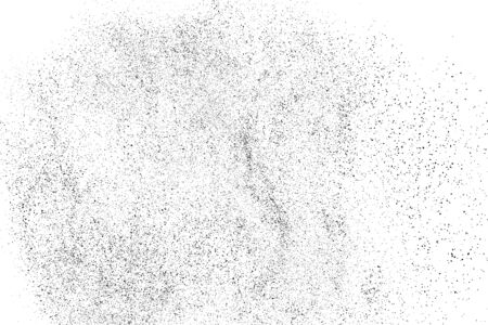 Black grainy texture isolated on white background. Dust overlay. Dark noise granules. Digitally generated image. Vector design elements. Illustration, Eps 10. Vettoriali