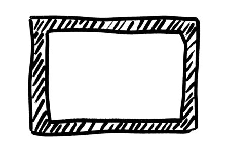 Frame hand drawn in black. Dark border isolated on white background. Monochrome design element. Digitally generated image. Vector illustration Ilustração