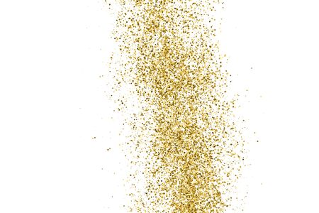 Gold Glitter Polka Dot Texture Isolated On White. Amber Particles Color. Celebratory Background. Golden Explosion Of Confetti. Vector Illustration Foto de archivo - 143706096