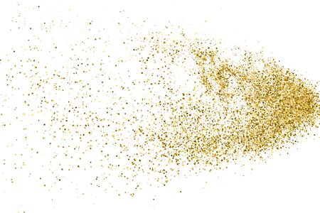 Gold Glitter Polka Dot Texture Isolated On White. Amber Particles Color. Celebratory Background. Golden Explosion Of Confetti. Vector Illustration