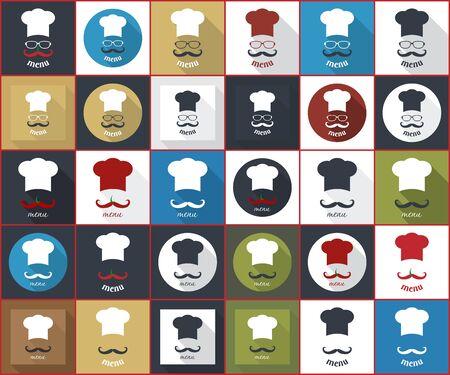 Chef badge. Icons for food service delivery, eatery, snack-bar, lunchroom, bar, bistro, tavern; fast food, cafe, restaurant. Menu card. Big set. Simple flat vector illustration