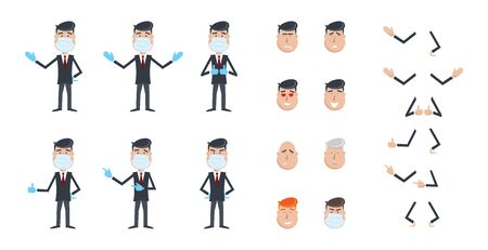 Office worker in protective mask and gloves. Quarantined man. Self-isolate. Smiley set. Businessman isolated on white background. Vector constructor. Illustration