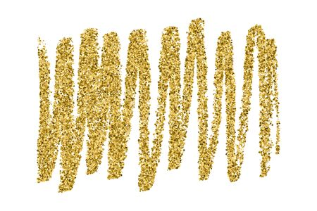 Gold glitter texture isolated on white. Promotional banner. Celebratory background. Golden explosion of confetti. Vector illustration
