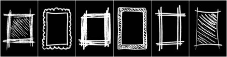 Set of Monochrome Frame for Design.  Scribble hand drawn in chalk on black background. Shabby white texture. Rusted effect. Digitally generated image. Vector illustration Frame for design. 矢量图像
