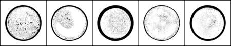 Coffee foam top view. Set of black texture on white background. Monochrome circle shape backdrop. Vector illustration, EPS 10.