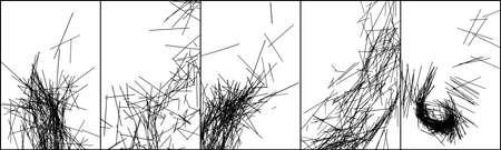 Set of black stripes texture on white background. Monochrome design elements. Vector illustration, EPS 10.
