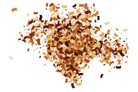 Coffee Color Confetti Isolated on White Background. Chocolate Shades Texture. Brown Particles. Digitally Generated Image. Vector Illustration, EPS 10. Vecteurs