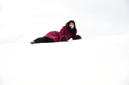 tumble down: Girl in the snow