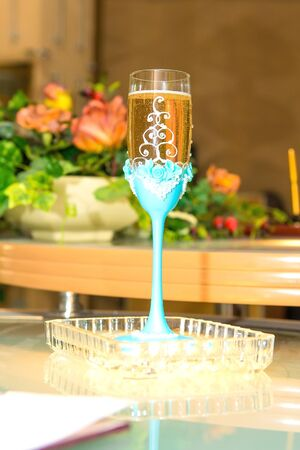 wine register: Crystal glass decorated wedding. Stock Photo