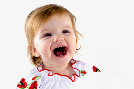 sincere girl: Portrait of a smiling little girl, carefree childhood, sincere smile, joyous laughter