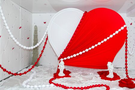 beloved: Wedding setting. Decoration of the hall for the celebration. Decoration of Valentines Day. Gift for the beloved