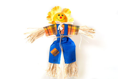 Scarecrow in the garden. Hand Made bogey for houseplants.