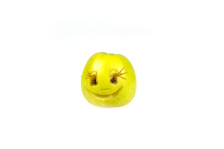 Happy smiling smiley out of the apple. Feelings, attitudes and emotions.