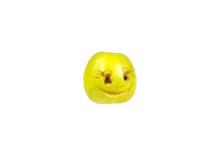 desprecio: Happy smiling smiley out of the apple. Feelings, attitudes and emotions.