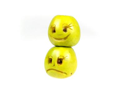 desprecio: Happy and sad emoticons from apples. Feelings, attitudes and emotions.